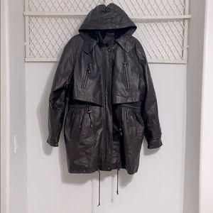 TOMAHAWK Leather Parka Jacket Brown